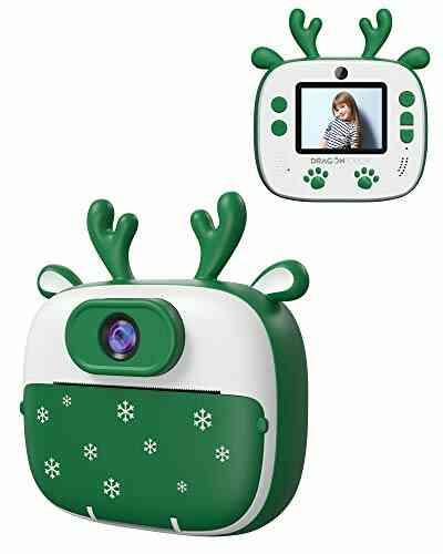 Appareil Photo Enfants de Noël, Dragon Touch Caméra Jouet Numérique avec Double Objectif, Cadeau de Noël avec Papier d'impression, Autocollant de Dessin Ani 1