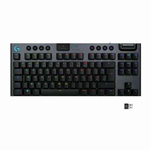Clavier gaming mécanique RVB sans fil LIGHTSPEED G915 TKL sans pavé numérique,clicky, options de switchs ultra-plats, LIGHTSYNC RVB, prise en charge sans fil 1