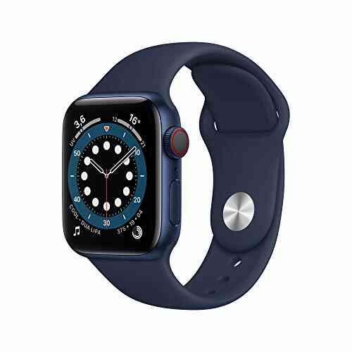 Nouveau AppleWatch Series6 (GPS+ Cellular, 40 mm) Boîtier en Aluminium Bleu, Bracelet Sport Marine Intense 1