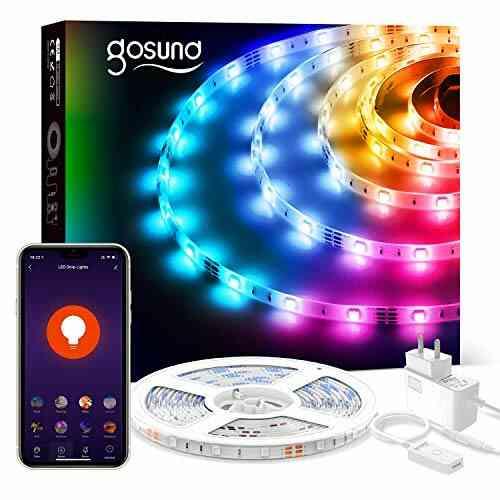 Ruban LED, Gosund Bande LED Intelligent SMD Multicolore Bandeau LED 5050 RGB Smart Bande Lumineuse Fonction de Télécommande pour Intérieur Fête Bar Chambre 1