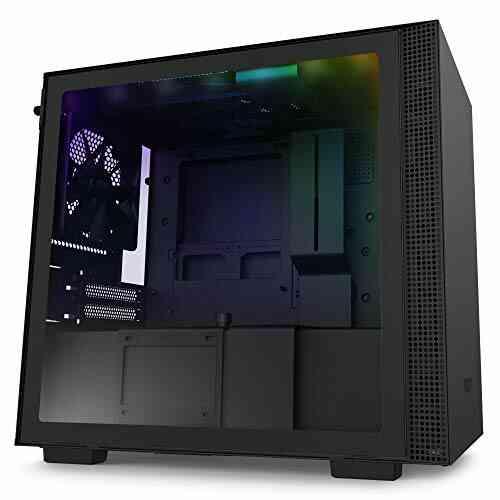 NZXT H210i - Boîtier PC Gaming Mini-ITX - Port I/O USB Type-C en Façade - Panneau Latéral en Verre Trempé - Compatible Refroidissement Liquide - Éclairage 1