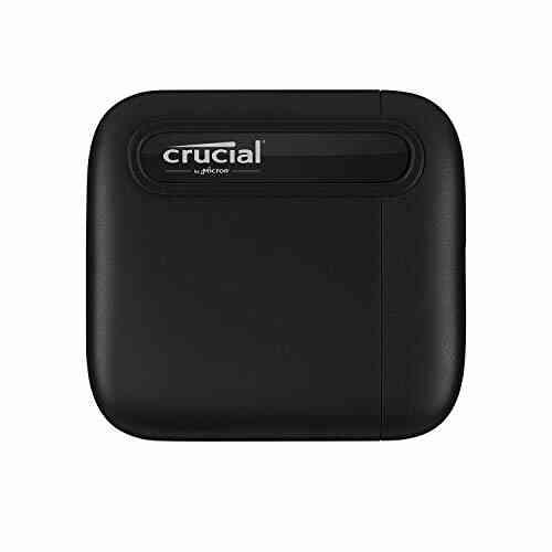 Crucial CT1000X6SSD9 X6 1To Portable SSD – Jusqu'à 540Mo/s – USB 3.2 – Lecteur d'état solide externe, USB-C 1