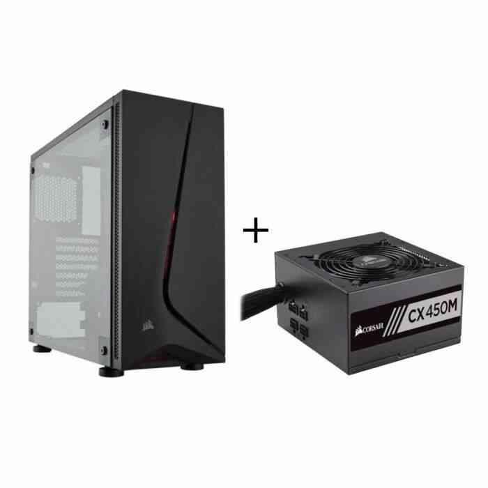 CORSAIR Pack Boitier PC Carbide Spec 05 Moyen Tour Noir + Alimentation CX450M 450 Watts Semi Modulaire 80+ Bronze 1