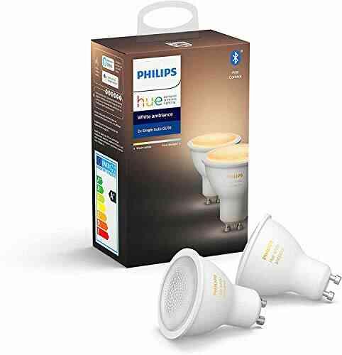 Philips Hue Ampoules LED Connectées White Ambiance GU10 Compatible Bluetooth, Fonctionne avec Alexa Pack de 2 1